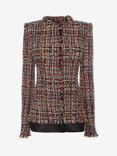 ALEXANDER MCQUEEN Giacca D Giacca Aderente in Tweed Wishing Tree f