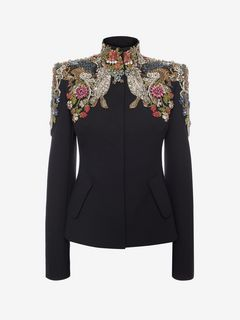 ALEXANDER MCQUEEN Jacket D Jewel-Embroidered Tailored Jacket f
