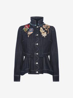 ALEXANDER MCQUEEN Jacket D Embroidered Denim Peplum Jacket f