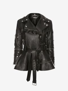 ALEXANDER MCQUEEN Jacket D Ruffled Leather Biker Jacket f