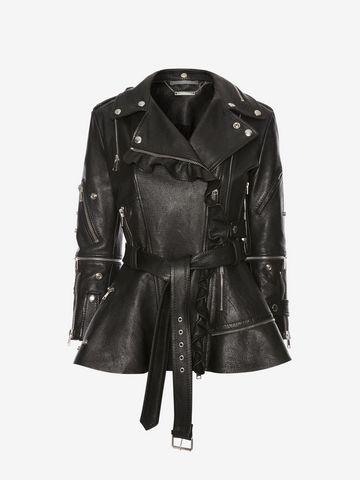 ALEXANDER MCQUEEN Ruffled Leather Biker Jacket Jacket Woman f ...