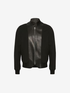 ALEXANDER MCQUEEN Jacket Man Leather bib Bomber Jacket f