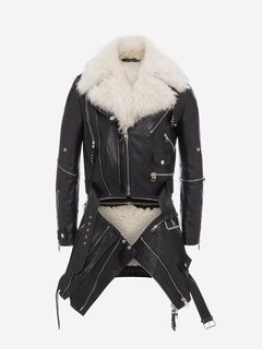 ALEXANDER MCQUEEN Coat Man Shearling and Leather Long Biker f