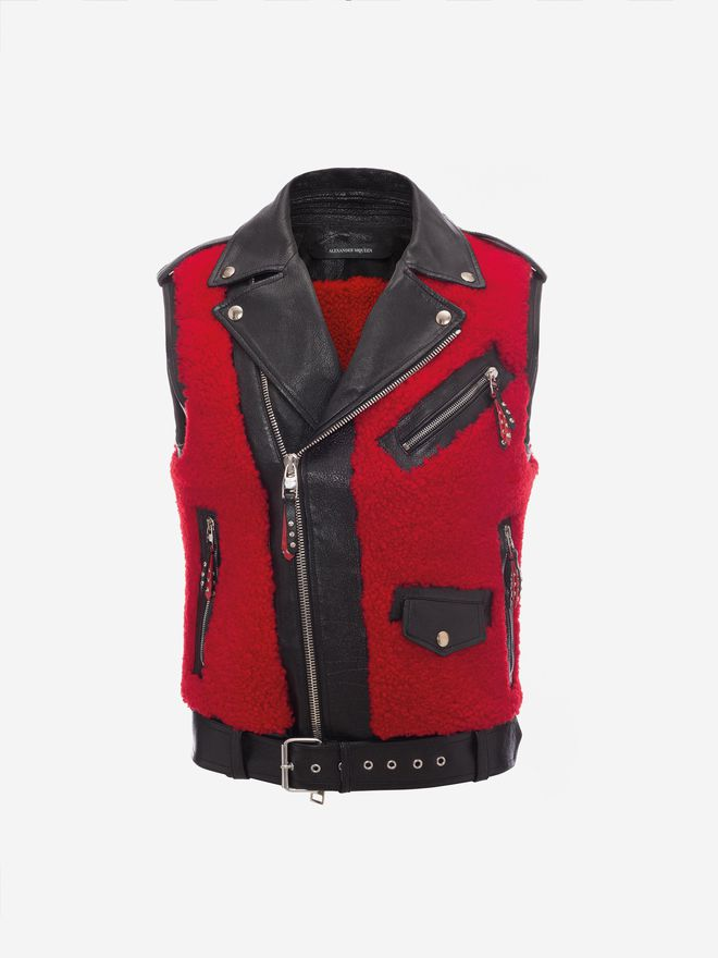 ALEXANDER MCQUEEN Shearling and Buffalo Leather Biker Waistcoat Jacket Man f