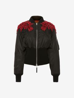 ALEXANDER MCQUEEN Jacket Woman Embroidered Bomber Jacket f