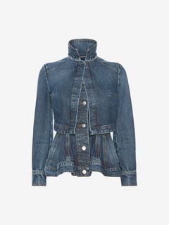 ALEXANDER MCQUEEN Jacket Woman Vintage Wash Denim Peplum Jacket f