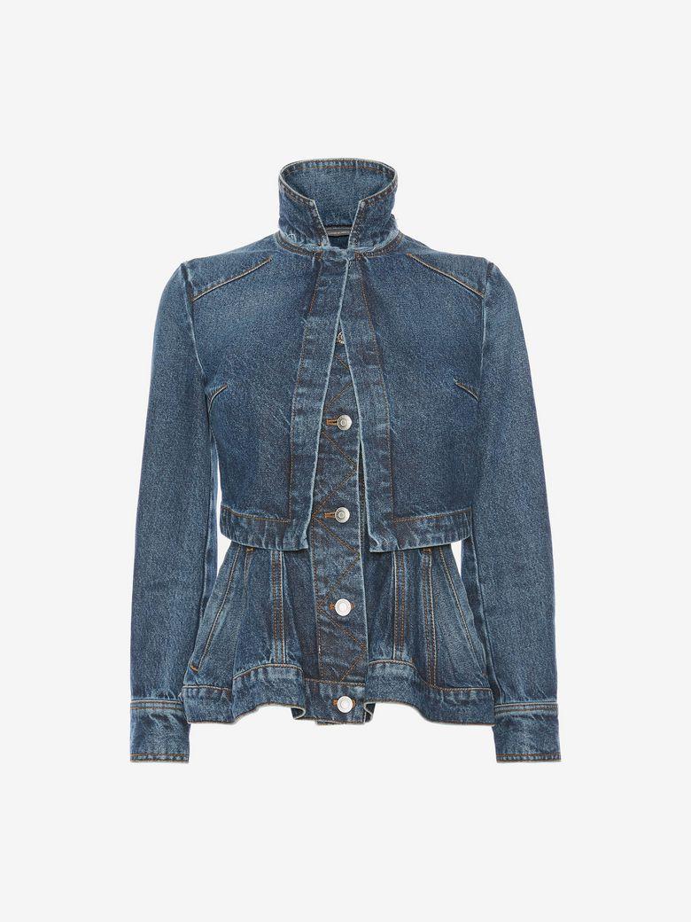 High-Neck Peplum-Hem Denim Jacket