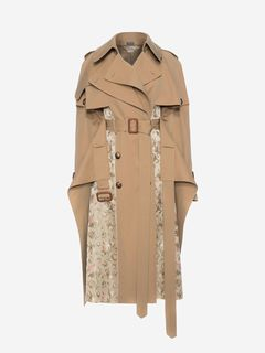 ALEXANDER MCQUEEN Coat Woman Trench Coat with Floral jacquard Patchwork f