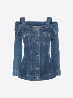 ALEXANDER MCQUEEN Jacket Woman Off the Shoulder Denim Jacket f