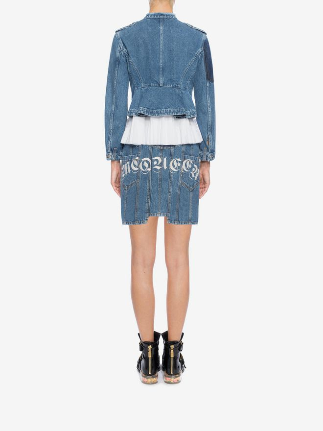 Frayed Denim Mini Dress - Black Alexander McQueen nk3iatW