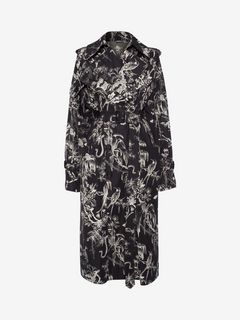 ALEXANDER MCQUEEN Coat Woman Bird Sketch Trench Coat f