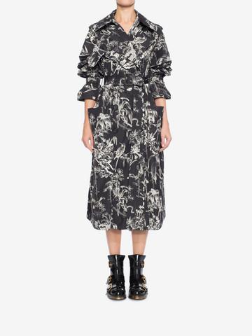 ALEXANDER MCQUEEN Bird Sketch Trench Coat Coat Woman r