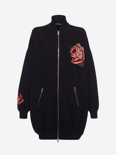 ALEXANDER MCQUEEN Bomber Jacket Woman Rose Tapestry oversized knitted Bomber f