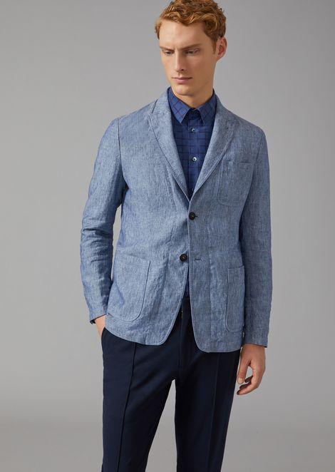 Jacket In Linen Canvas for Men | Giorgio Armani | Tuggl