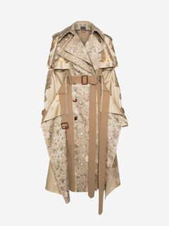 ALEXANDER MCQUEEN Coat Woman Patchwork Floral Jacquard Trench Coat f