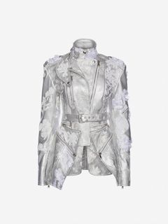 ALEXANDER MCQUEEN Jacket Woman Embroidered metallic Leather Jacket f