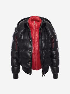 ALEXANDER MCQUEEN Jacket Man Down-Filled Lambskin Leather Puffer Jacket f