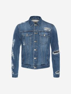 ALEXANDER MCQUEEN Jacket Man Japanese Selvedge Denim Jacket f
