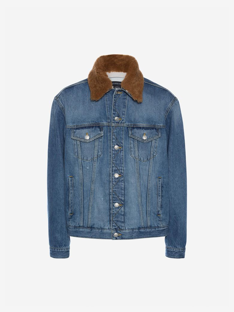 Shearling-Trimmed Embroidered Denim Jacket in Blue