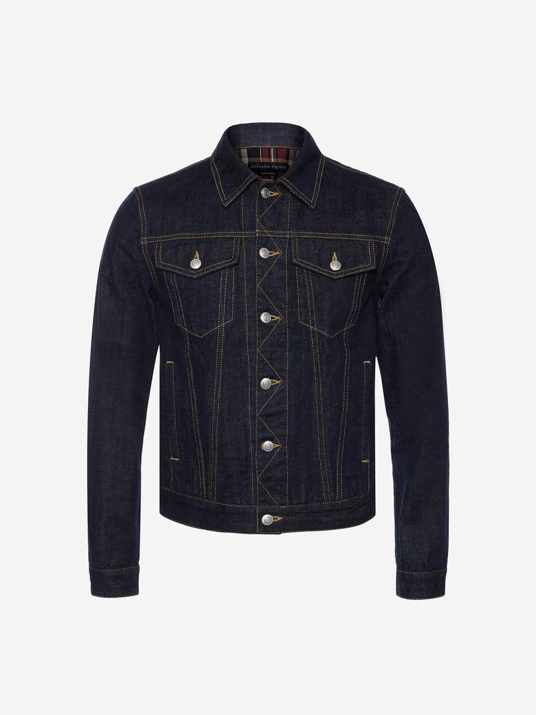 ALEXANDER MCQUEEN Men'S Denim Jacket With Plaid Lining, Indigo