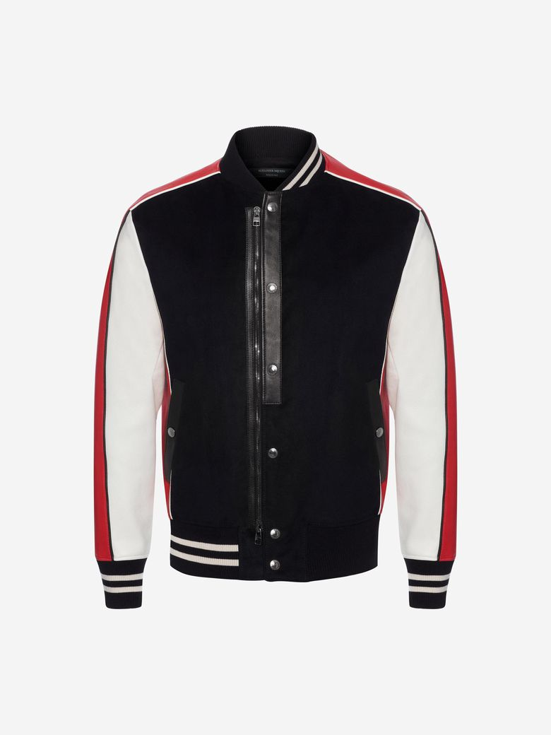 Contrast-Panel Leather And Woven Bomber Jacket, Black/Red/White