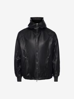 ALEXANDER MCQUEEN Jacket Man Patchwork Hooded Leather Jacket f