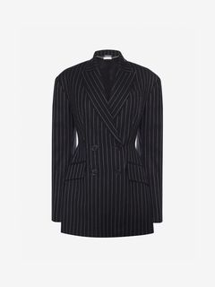 ALEXANDER MCQUEEN Jacket Woman Drop Shoulder Pinstripe Jacket f