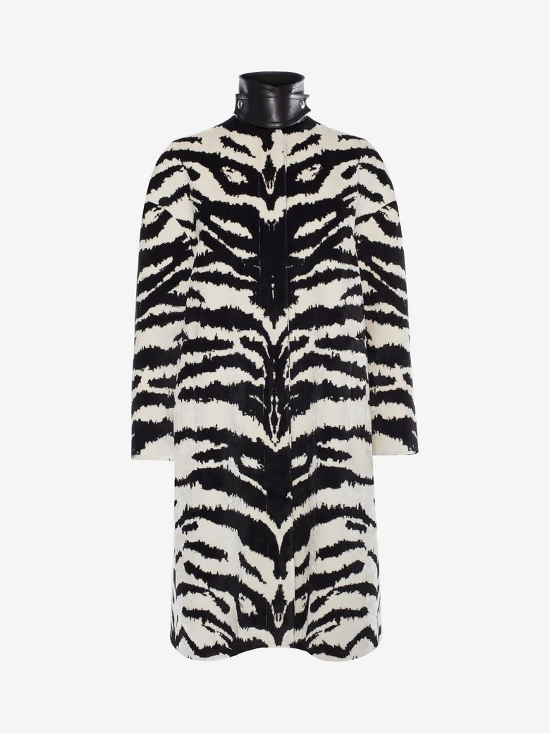 Button-Front Zebra-Print Velvet Jacquard Caban Jacket in Black
