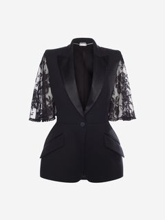 ALEXANDER MCQUEEN Jacket Woman Cape Lace Sleeve Jacket f