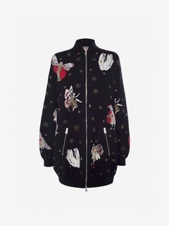 ALEXANDER MCQUEEN Bomber Jacket Woman Gothic Fairytale Oversized Bomber f