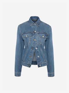 ALEXANDER MCQUEEN Jacket Woman Embroidered Denim Jacket  f