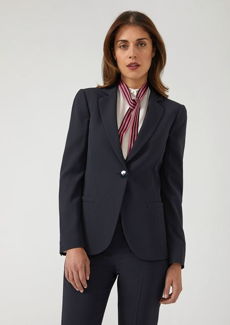 Slim Fit Single Breasted Jacket In Cady for Women | Emporio Armani | Tuggl
