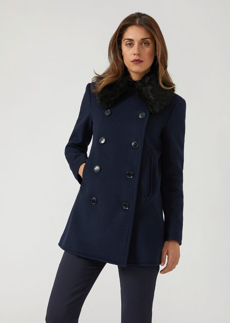 b5d421f91c Short double-breasted coat with faux fur collar | Woman | Emporio Armani