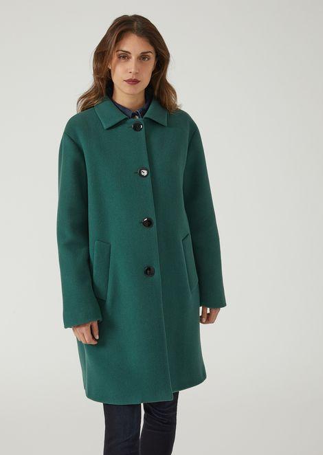 1da2bc87ca Cappotto monopetto over in panno di lana   Donna   Emporio Armani
