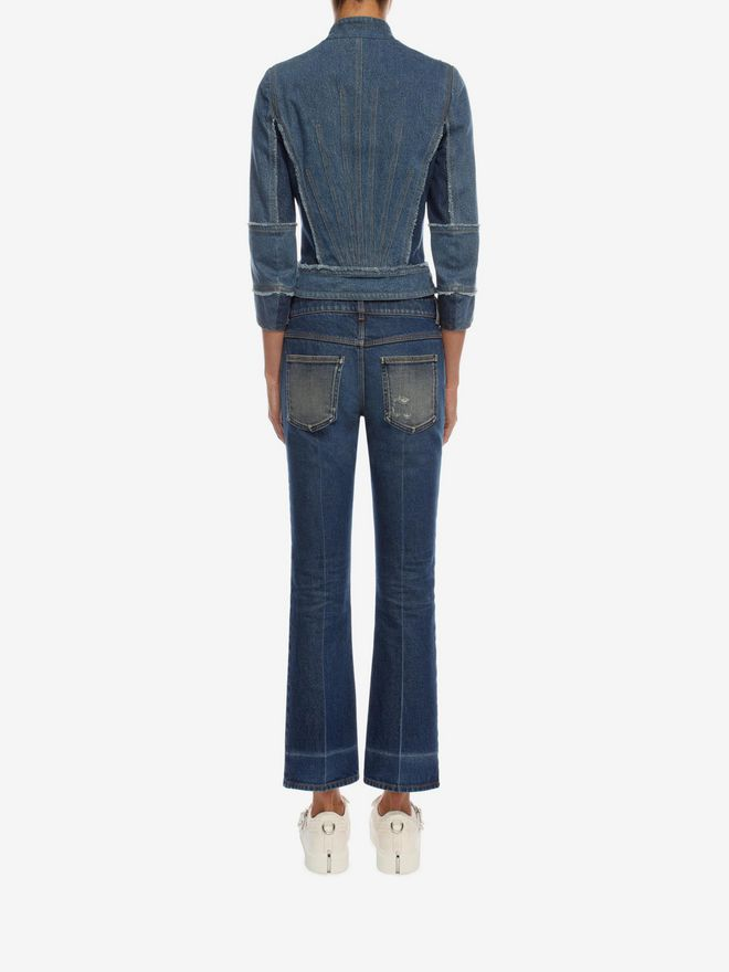 ALEXANDER MCQUEEN Crop Flare Jeans Trousers D e