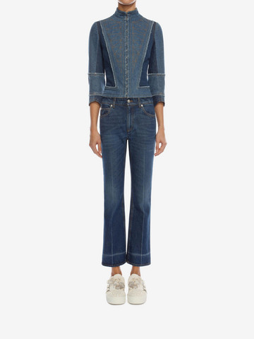 ALEXANDER MCQUEEN Crop Flare Jeans Trousers D r