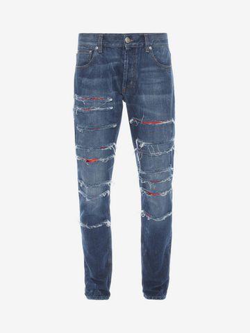 ALEXANDER MCQUEEN Ripped Grosgrain Jeans Jeans U f