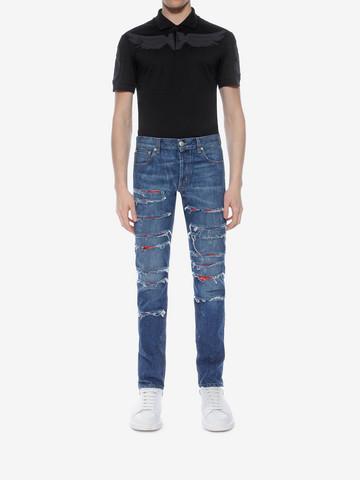 ALEXANDER MCQUEEN Ripped Grosgrain Jeans Jeans U r