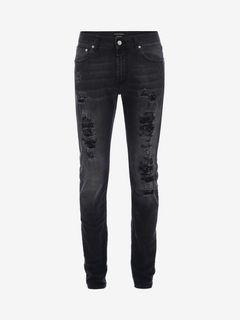 ALEXANDER MCQUEEN Jeans U Black stonewashed Shredded Jeans f