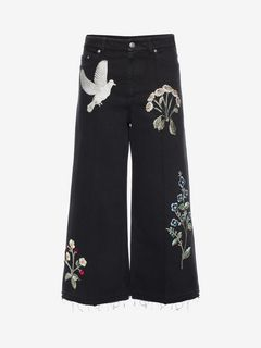 ALEXANDER MCQUEEN Jeans D Embroidered Denim Culottes f