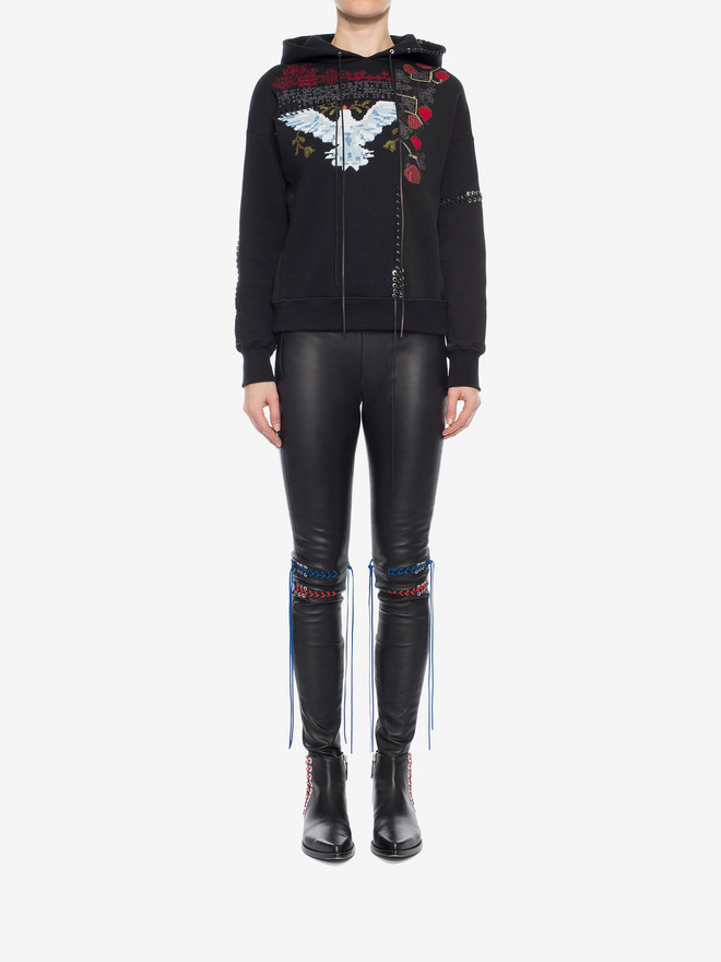 ALEXANDER MCQUEEN Whip-Stitched Leather Leggings Pants Woman r
