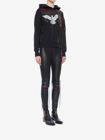 ALEXANDER MCQUEEN Whip-Stitched Leather Leggings Pants Woman d