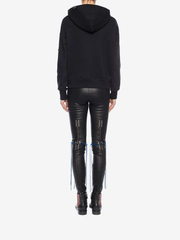 ALEXANDER MCQUEEN Whip-Stitched Leather Leggings Pants Woman e