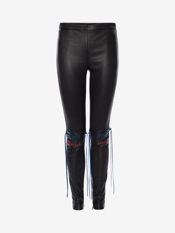 ALEXANDER MCQUEEN Whip-Stitched Leather Leggings Pants Woman f