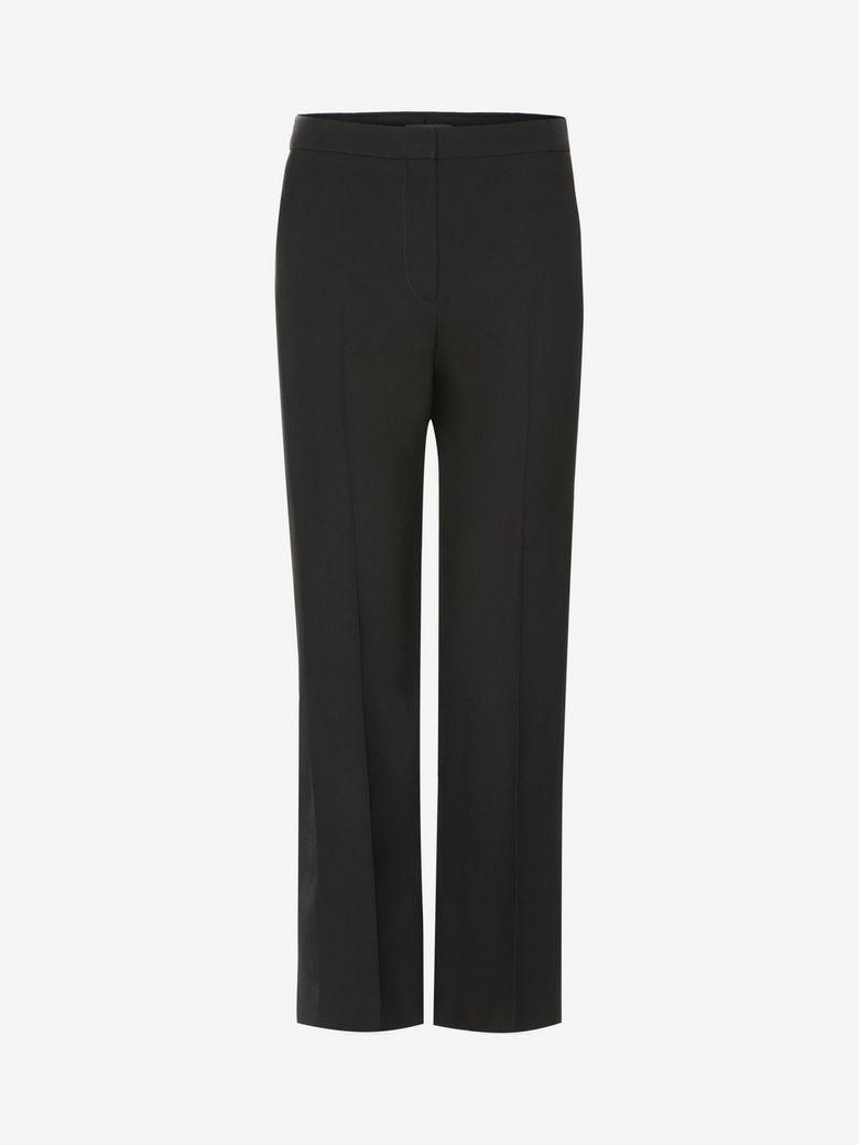 Flat-Front Cigarette-Leg Wool-Silk Pants, Black