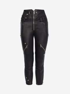 ALEXANDER MCQUEEN Trousers Woman Capri Leather Trouser f