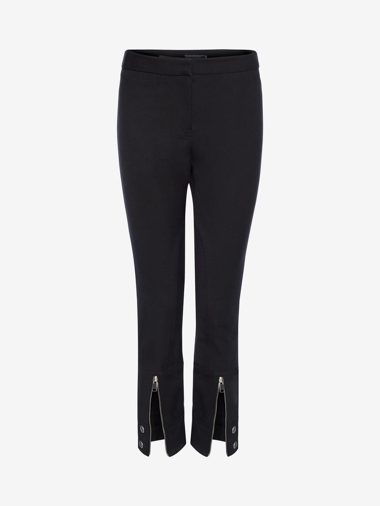 Fitted Trousers With Zip Detail, Black