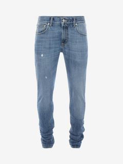 ALEXANDER MCQUEEN Jeans Uomo Jeans in Denim Ricamato con Cimosa f