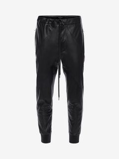 ALEXANDER MCQUEEN Pants Man Patchwork Leather Sweatpants f