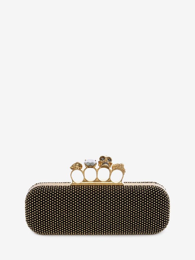 ALEXANDER MCQUEEN Studded Knucklebox Clutch Four-Ring Box Clutch D f